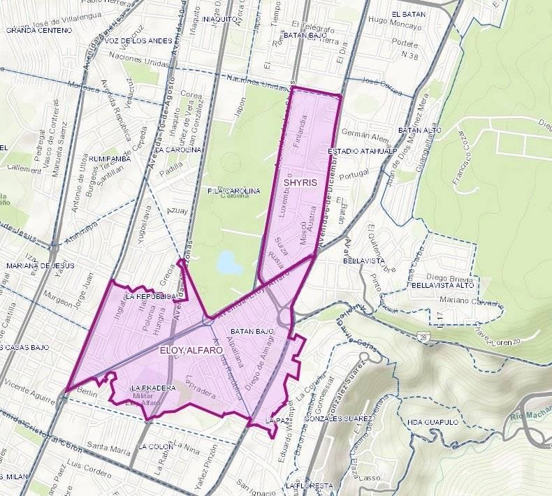 Mapa de suspensión del servicio de agua potable en La Carolina Bajo