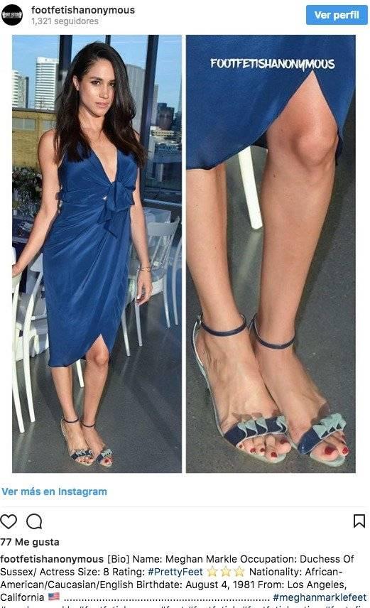 La cuenta en Instagram footfetishanonymous publicó imágenes de los pies de Meghan Markle