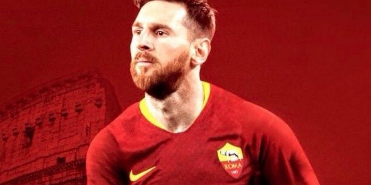 La Roma 'ficha' a Leo Messi con fotomontaje