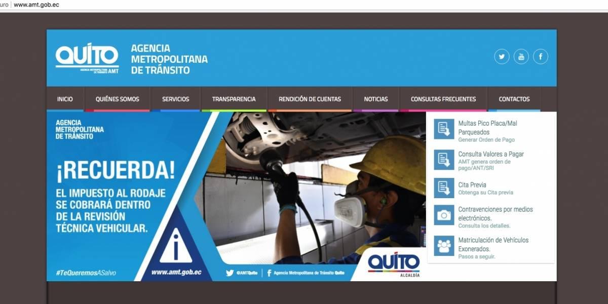 Web de la Agencia Metropolitana de Tránsito permanecerá inhabilitada