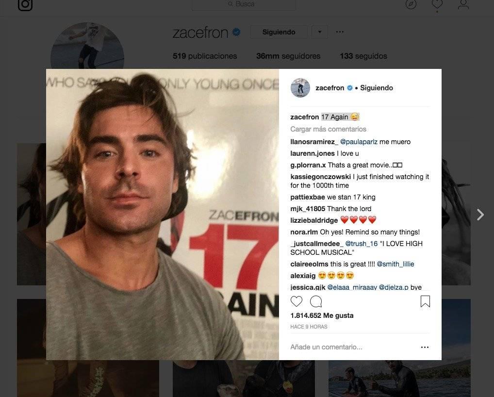 Instagram,Zac Efron,