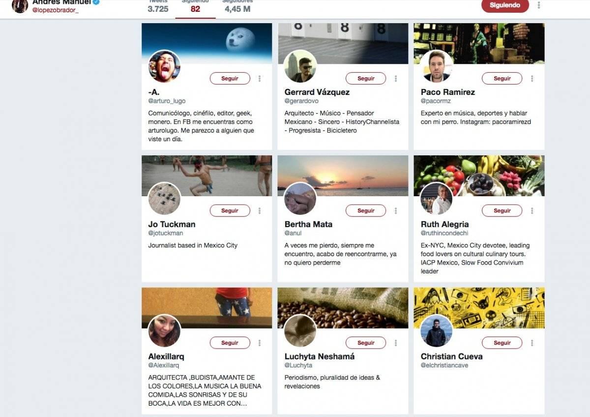 Cuentas que sigue Andrés Manuel López Obrador en Twitter