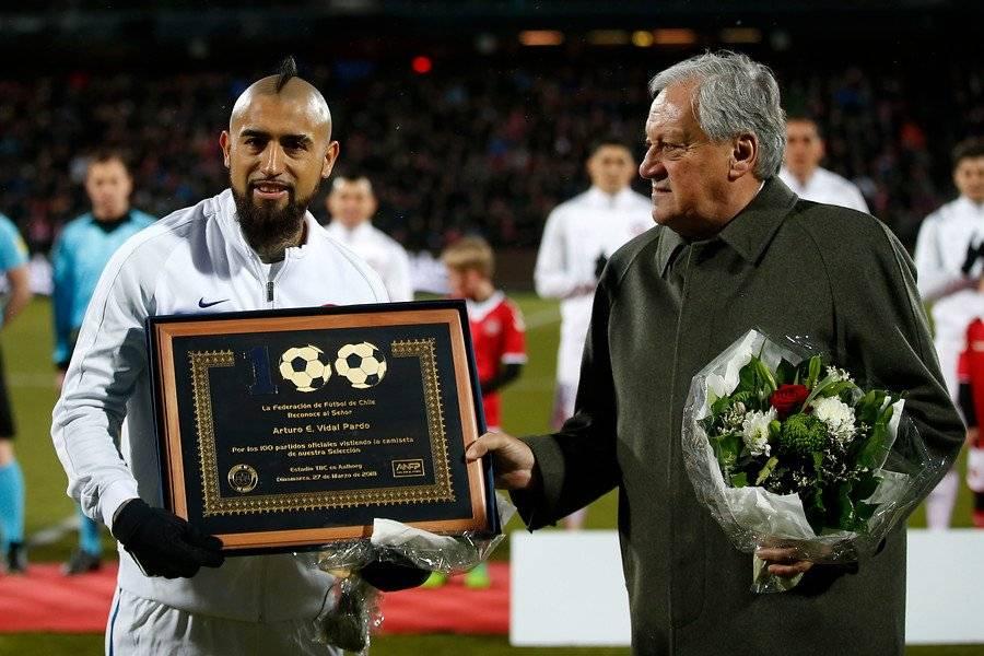 Arturo Vidal cumplió 100 partidos con la Roja en la última gira por Europa / Foto: Photosport