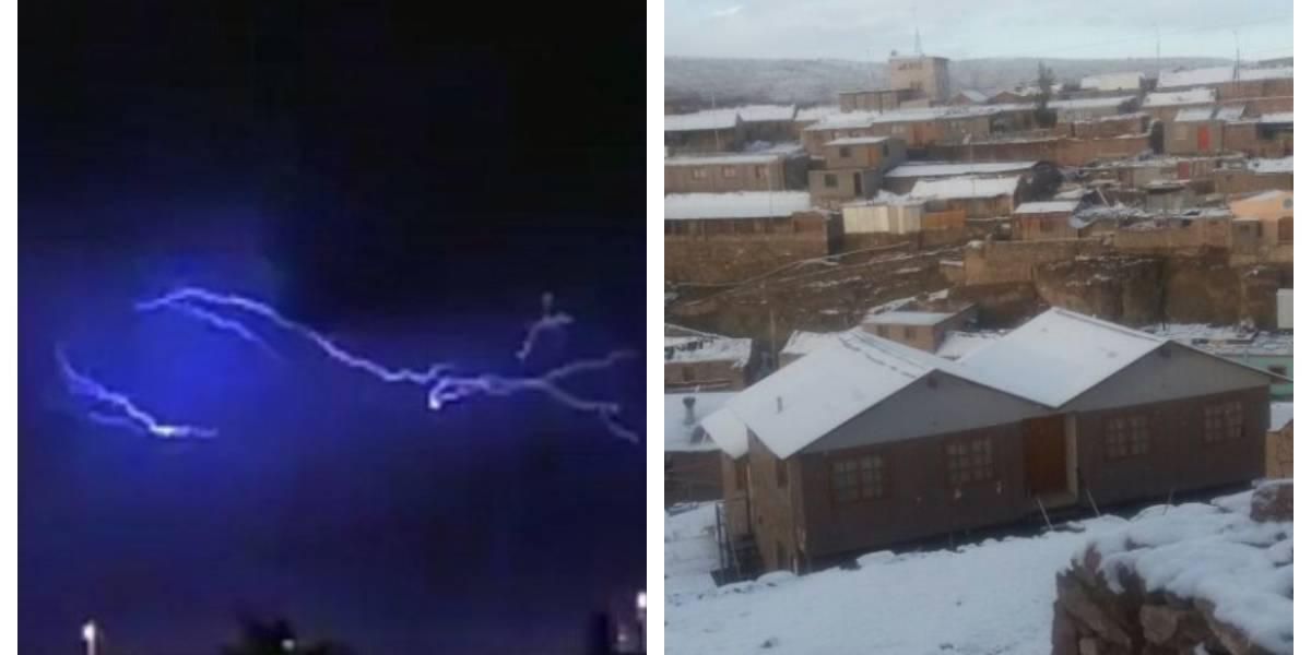 """Tormenta eléctrica, lluvias, granizo y nieve: así se vivió la inusual noche """"apocalíptica"""" que pasaron los habitantes de Calama"""