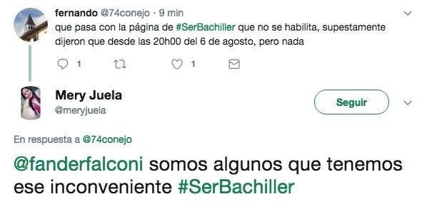 Algunos usuarios reportan que la página Ser Bachiller tiene problemas en su funcionamiento