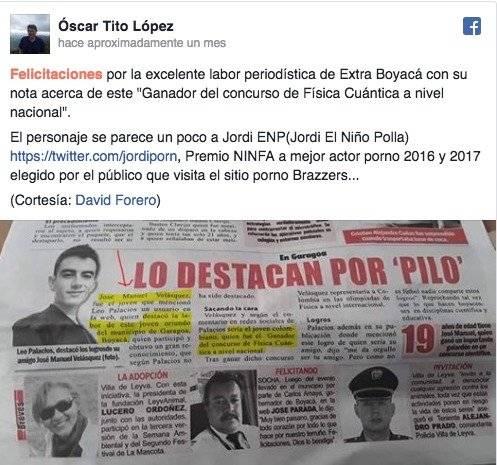 Publicación de El Niño Polla
