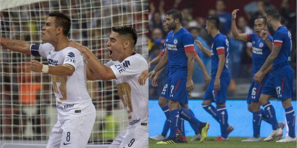 Pumas y Cruz Azul dominan el Apertura 2018 luego de tres fechas