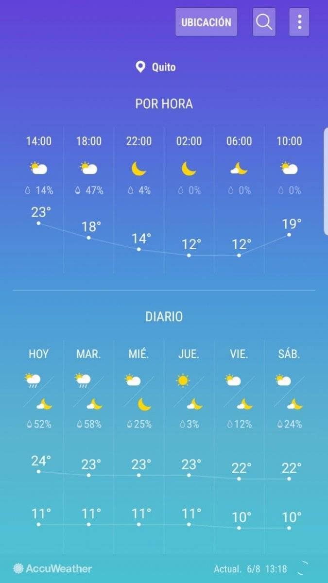 Quito: Predicciones del clima para la Fiesta de la Luz Captura de pantalla