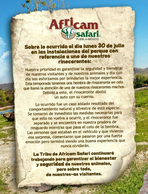El comunicado de Africam Safari sobre el rinoceronte