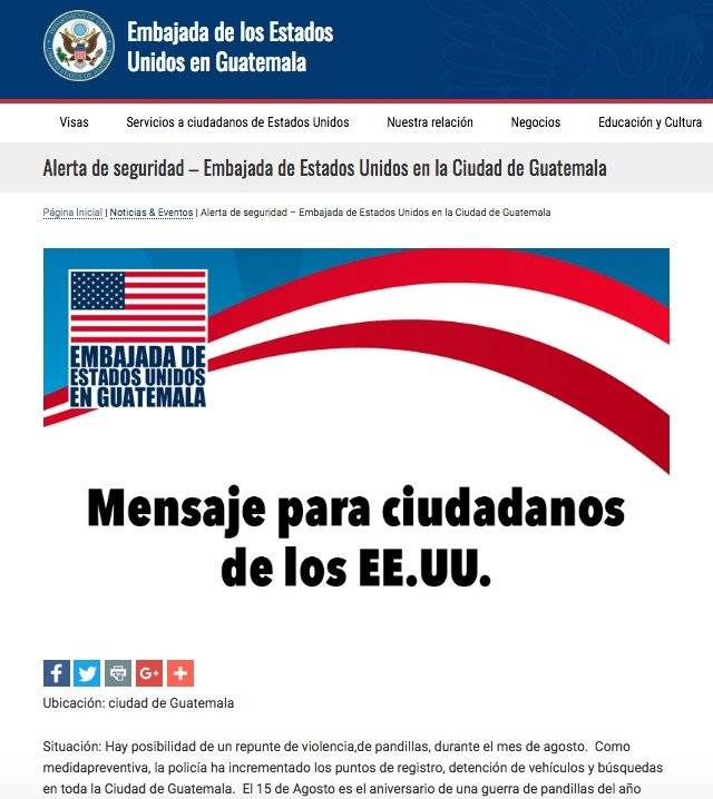 Advertencia de la Embajada