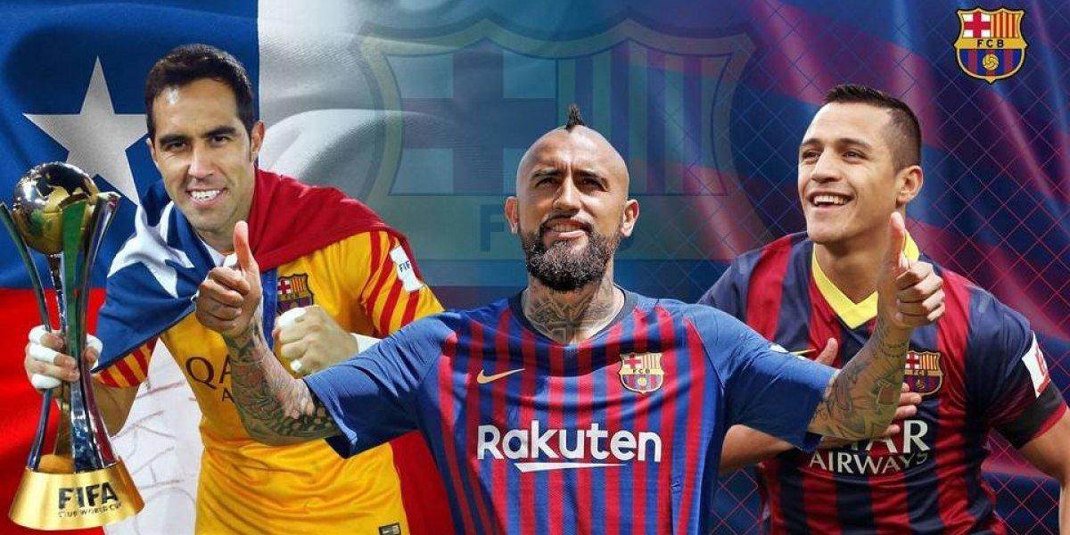 """""""Vidal completa un tridente de lujo"""": Barcelona destacó la """"huella chilena"""" que han tenido en el club"""