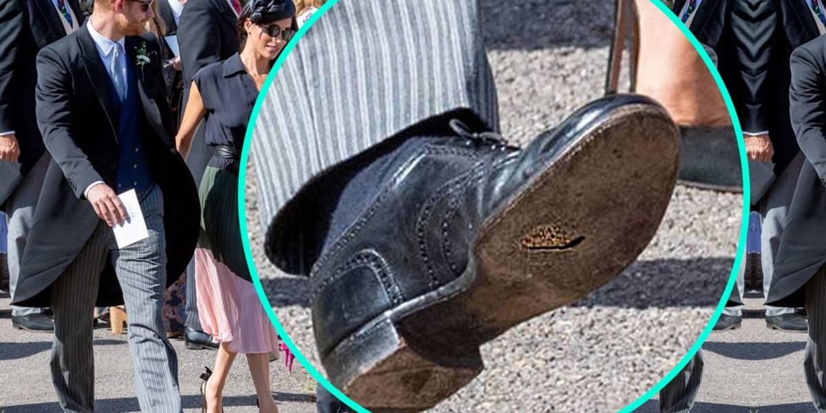 ¿Elegancia británica? El príncipe Harry acudió a boda con grandes huecos en sus zapatos