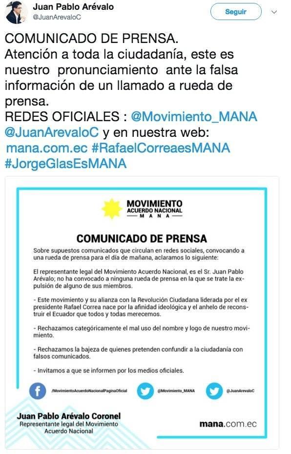 Rafael Correa fue expulsado del movimiento MANÁ