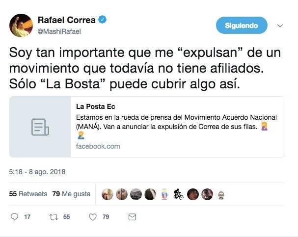 """Rafael Correa: """"Soy tan importante que me """"expulsan"""" de un movimiento que todavía no tiene afiliados"""""""