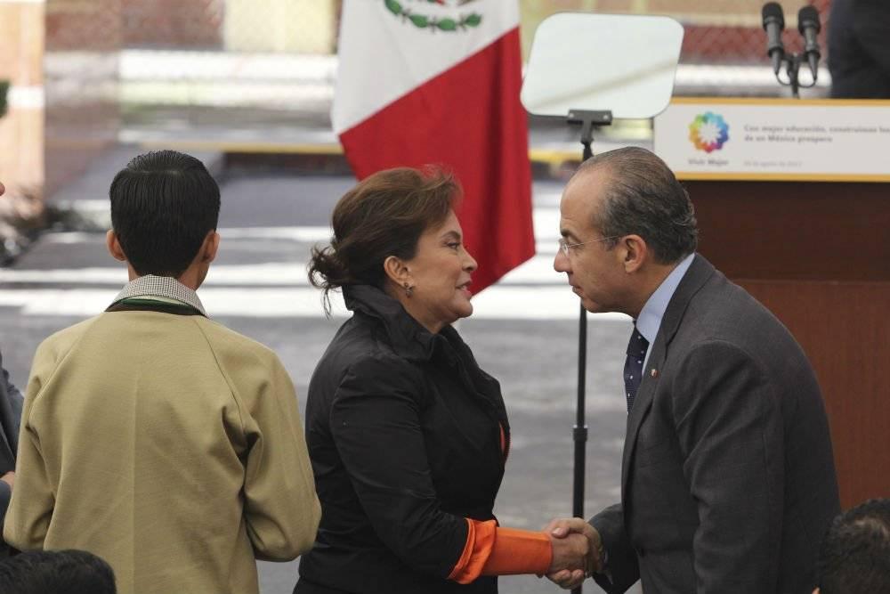Elba Esther Gordillo con el ex presidente Felipe Calderón Foto: Cuartoscuro