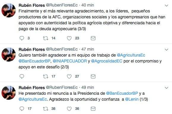 Rubén Flores renuncia al cargo de ministro de Agricultura