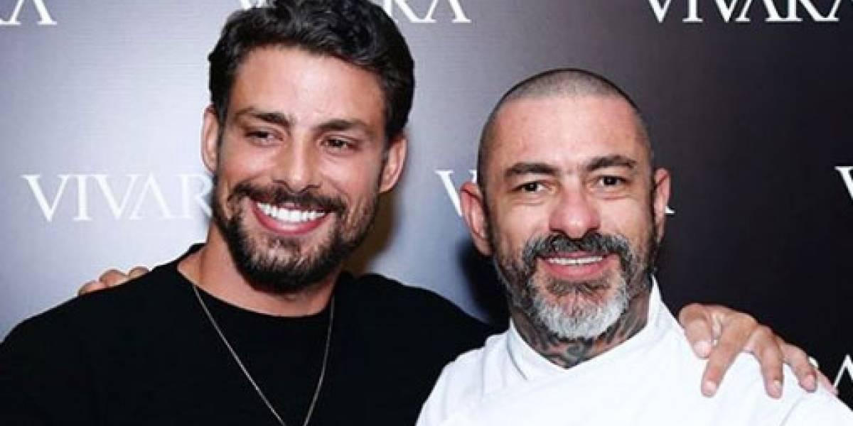 Cauã Reymond cozinha sob supervisão do chef Henrique Fogaça