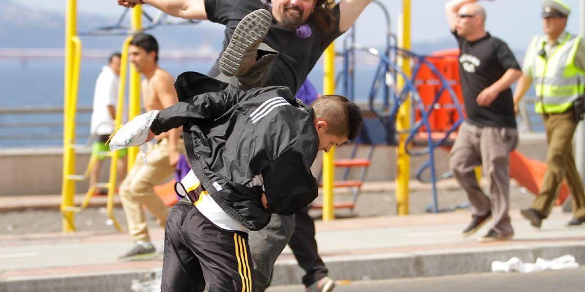 Hinchas de Concepción y Vial armaron una batalla campal en amistoso de básquetbol