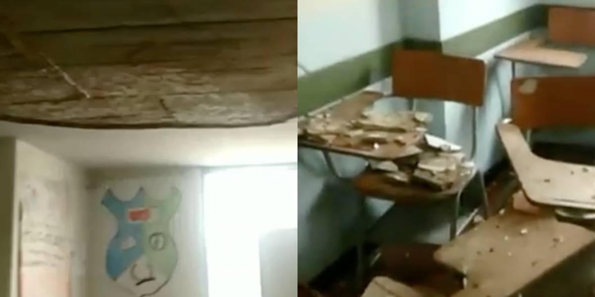 ¡Insólito! Se cae el techo de un colegio ubicado en la localidad de Bosa