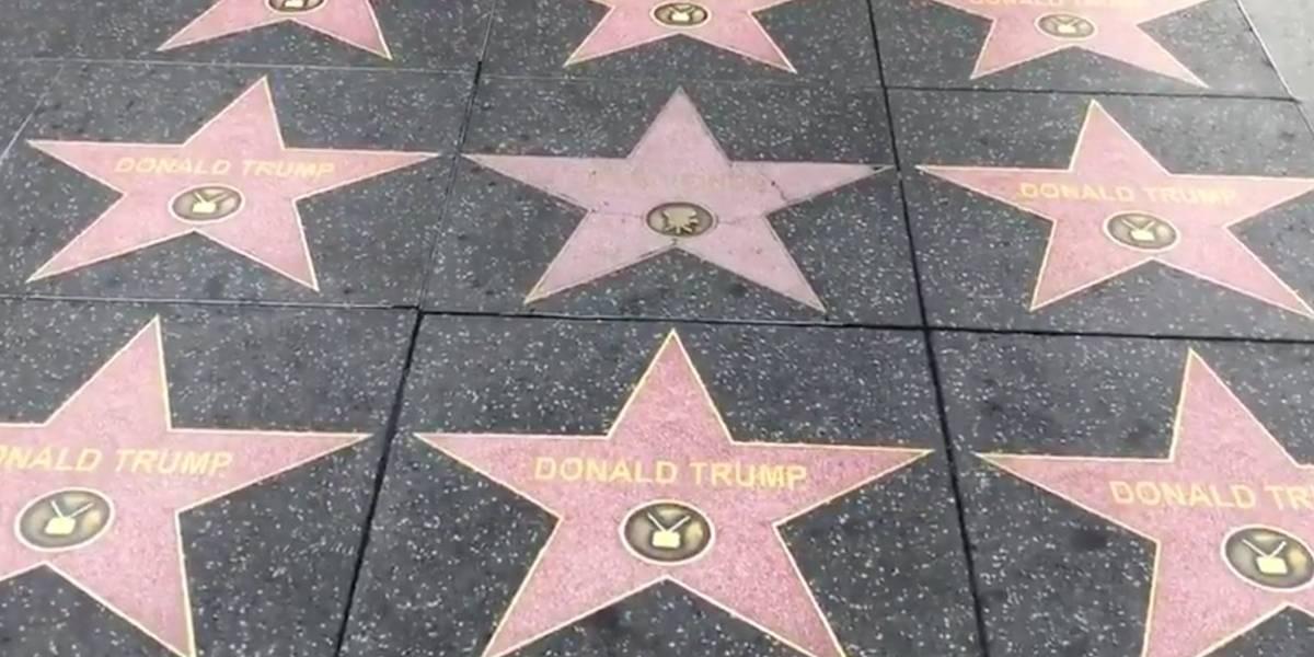 Ativistas pró-Trump enchem Calçada da Fama de Hollywood com estrelas do presidente