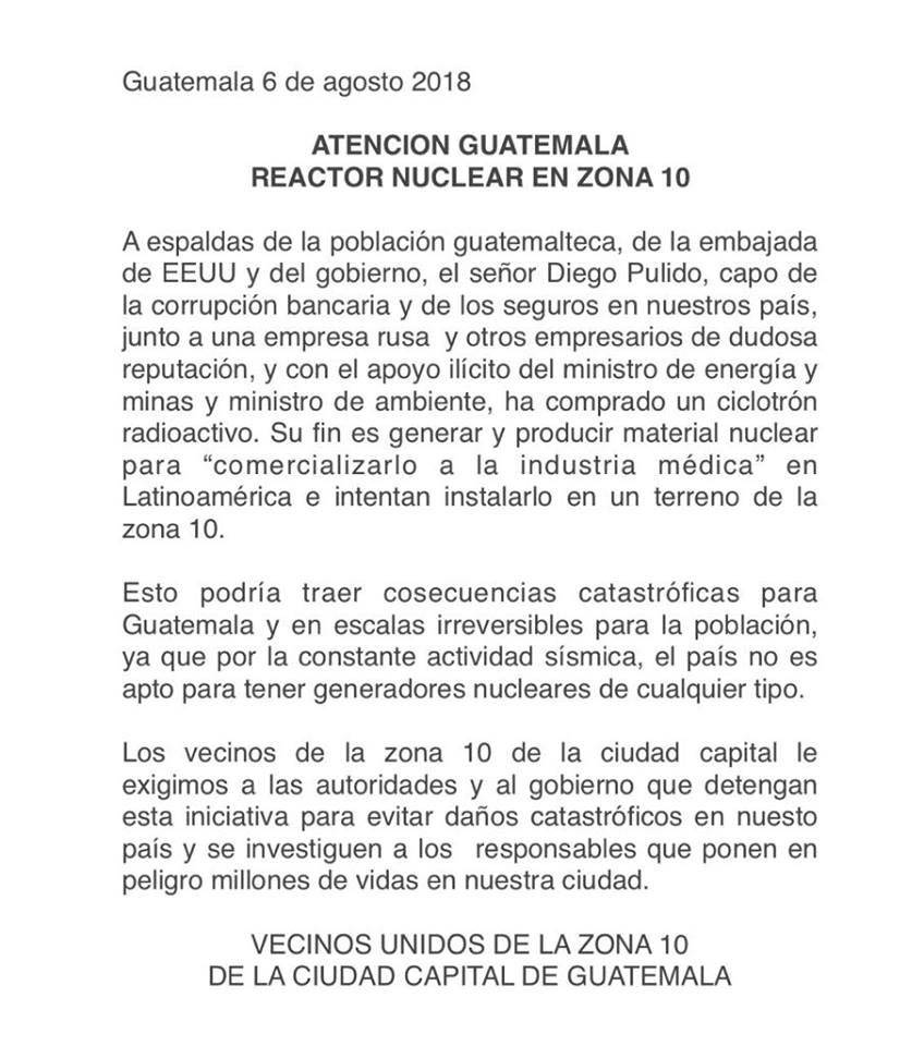 Vecinos alarmados por instalación de un ciclotrón en Guatemala.