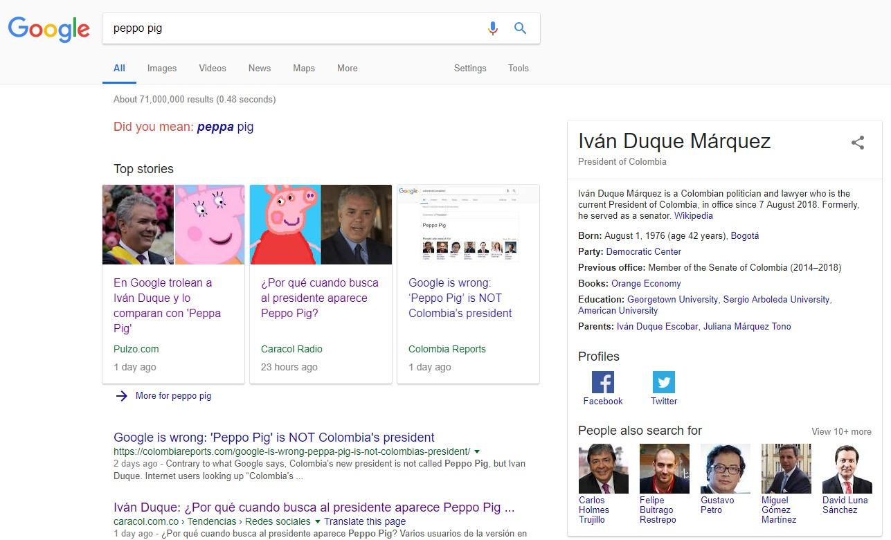 """Google trollea al nuevo presidente de Colombia y lo llama """"Peppo Pig"""""""