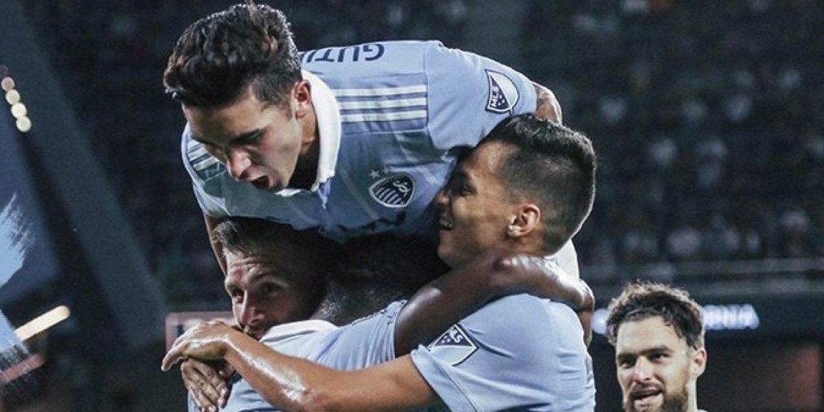 Valió la pena: Felipe Gutiérrez recibió un patadón en la cabeza que le valió un gol al Sporting Kansas