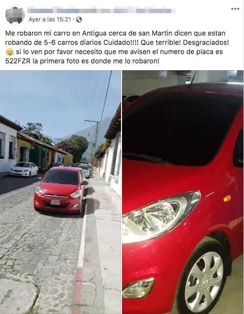Persona denuncia robo de su carro en La Antigua