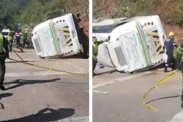 Accidente de bus con varios hinchas del Atlético Nacional deja varios heridos.