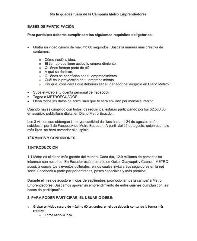 Términos y condiciones del concurso Metro Emprendedores
