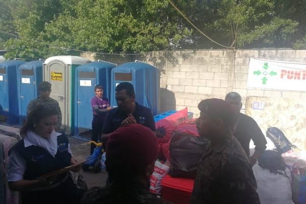 traslado de familias afectadas por la erupción a Alotenango