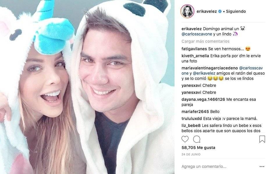 Érika Vélez y Carlos Scavone en Instagram Instagram