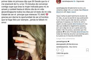 Carolina Jaume y Allan Zenck en Instagram