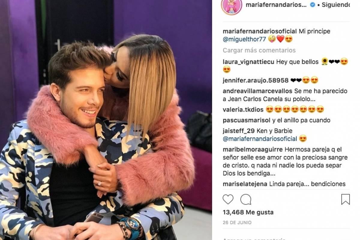 María Fernanda Ríos y Miguel Álvarez en Instagram