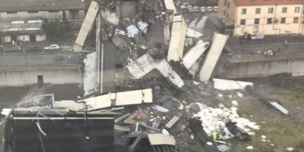 """""""Terrible tragedia"""" en Italia: puente se desploma en plena autopista de Génova y deja al menos 30 personas muertas"""