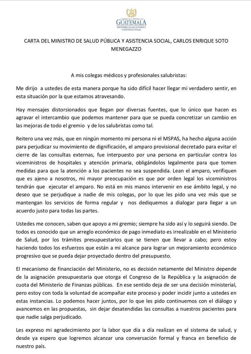Carta del ministro de Salud