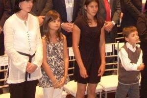 Anne Malherbe Gosseline, esposa de Rafael Correa, y sus hijos Anne Dominique, Sofía y Rafael