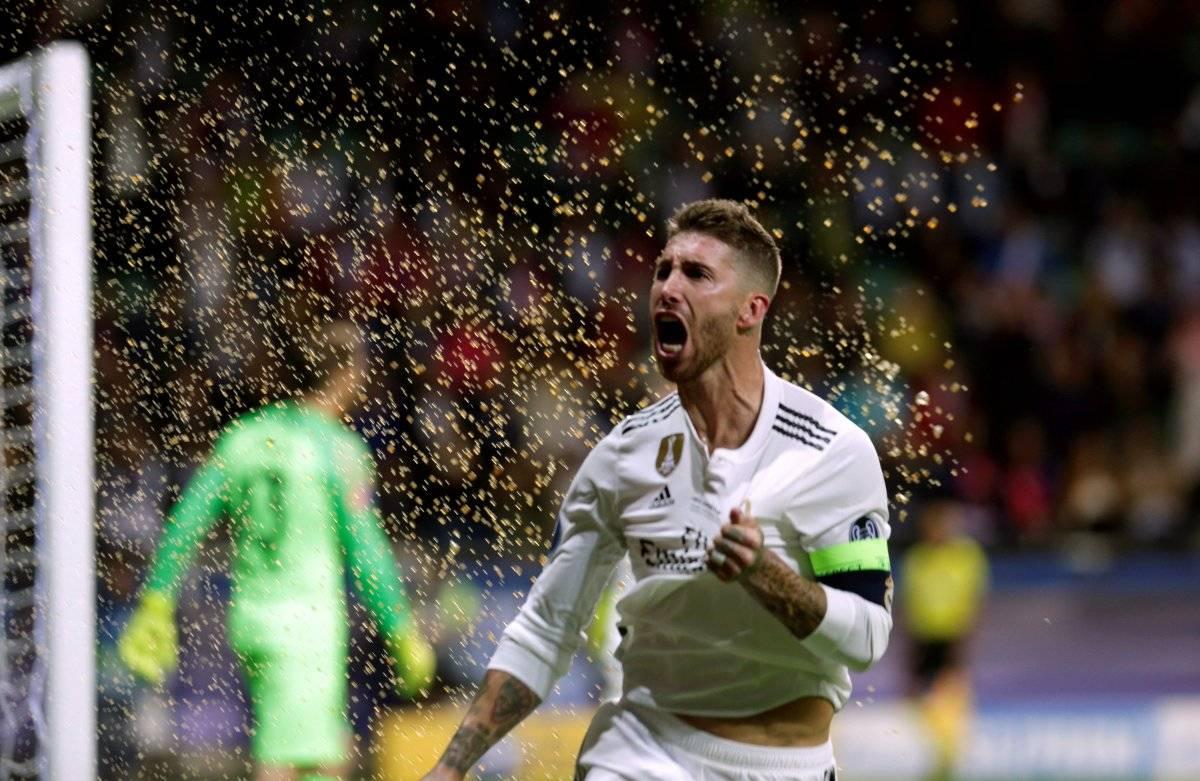 Ramos celebra su gol, durante la Supercopa EFE/VALDA KALNINA