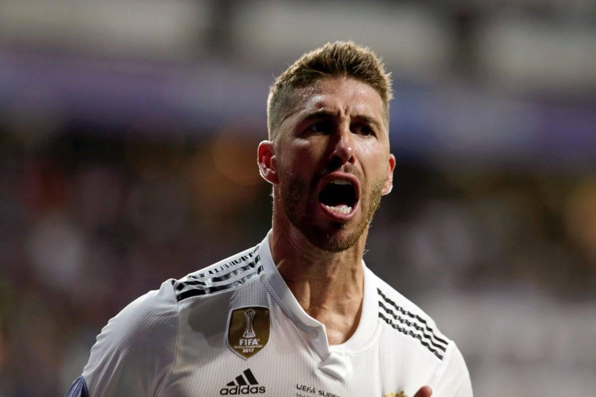 El defensa del Real Madrid Sergio Ramos celebra su gol, durante la Supercopa de Europa que Real Madrid y Atlético de Madrid juegan esta noche en el estadio Lillekula, en Tallinn, Estonia EFE/VALDA KALNINA