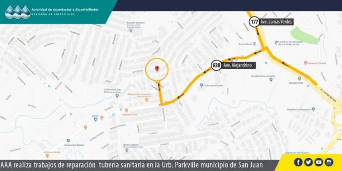 AAA alerta a conductores por reparación en urbanización en San Juan