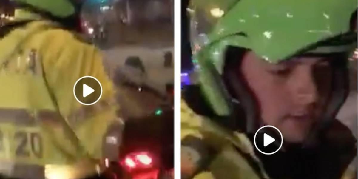 Video: Policía tumba celular de hombre que le reclama su mala conducta en Bogotá