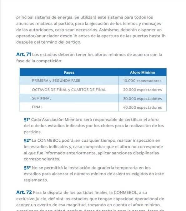 Conmebol no aprobó el Estadio Serrano Aguilar para octavos de final de la Sudamericana Twitter