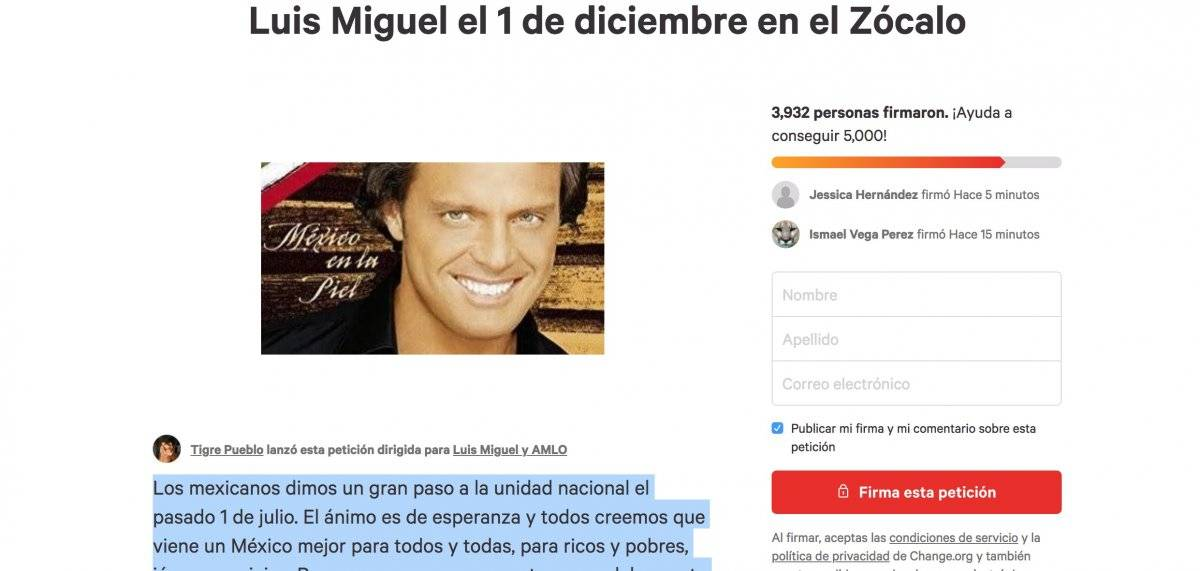 Petición Luis Miguel