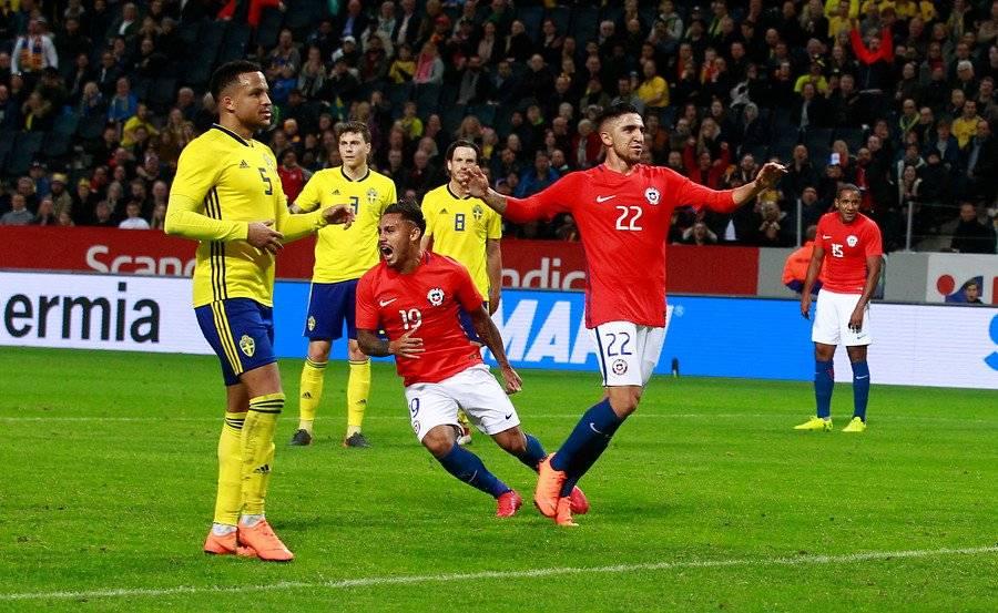 Marcos Bolados debutó el 24 de marzo en la Roja en el amistoso ante Suecia en Solna. Anotó el gol que selló el triunfo 2-1 de Chile / Foto: Agencia UNO