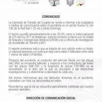 4 fallecidos en triple choque en vía Buena Fe-Santo Domingo