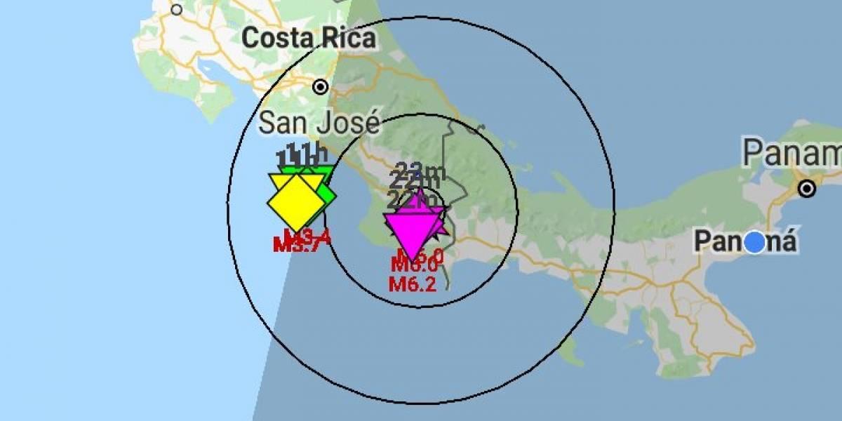 Se registró un sismo de magnitud 6,2 en Costa Rica