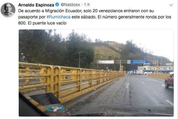 el periodista Arnaldo Espinoza publicó una foto del puente Rumichaca