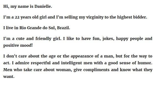 joven vende su virginidad