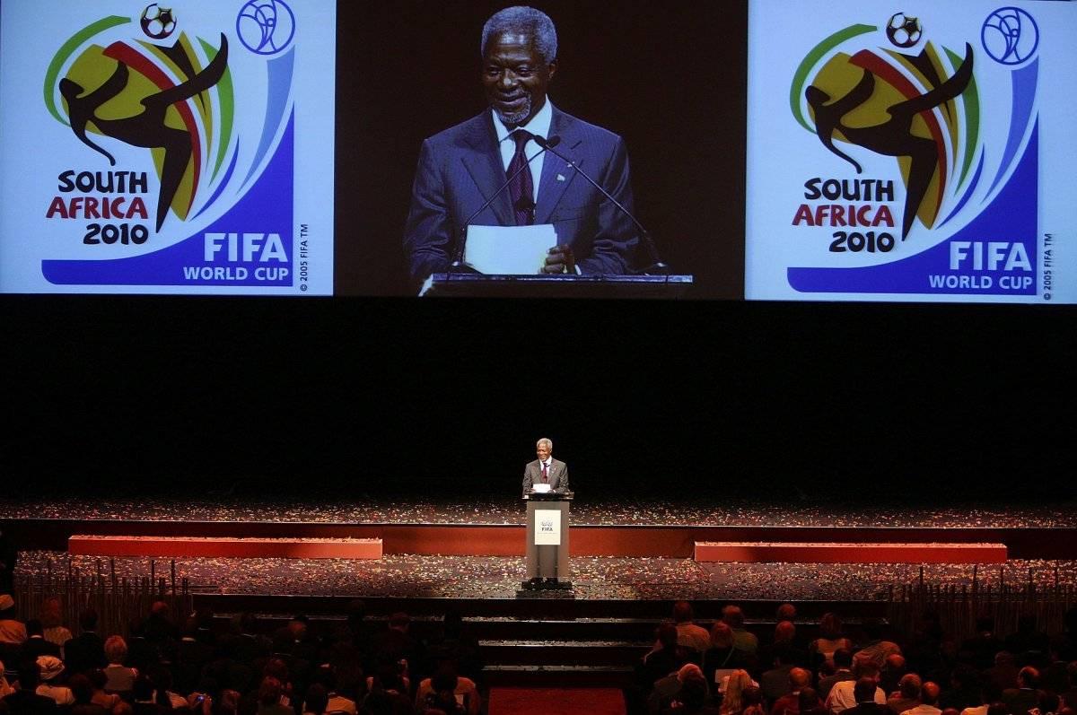 Kofi Annan durante la ceremonia de asignación del Mundial de Sudáfrica en 2010
