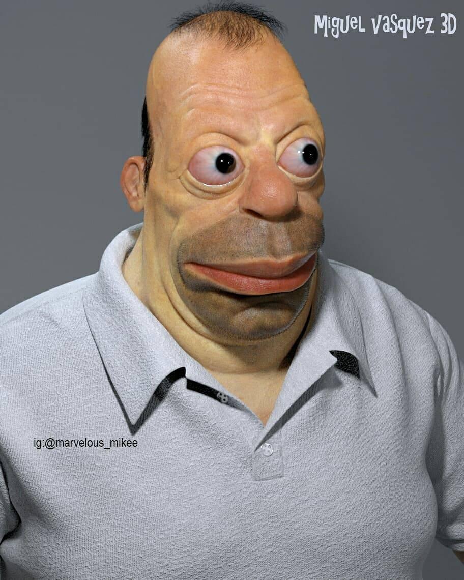 Fotos: Crean modelo 3D de Homero Simpson y el resultado es rarísimo